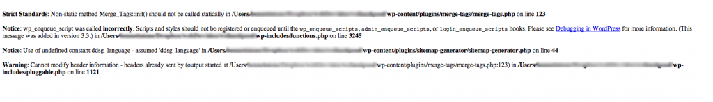 Example PHP error report output