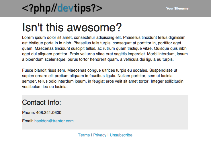 Awesome HTML email